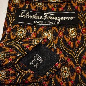Salvatore Ferragamo Accessories - Salvatore Ferragamo Tie | Black w/Jaguars | EUC